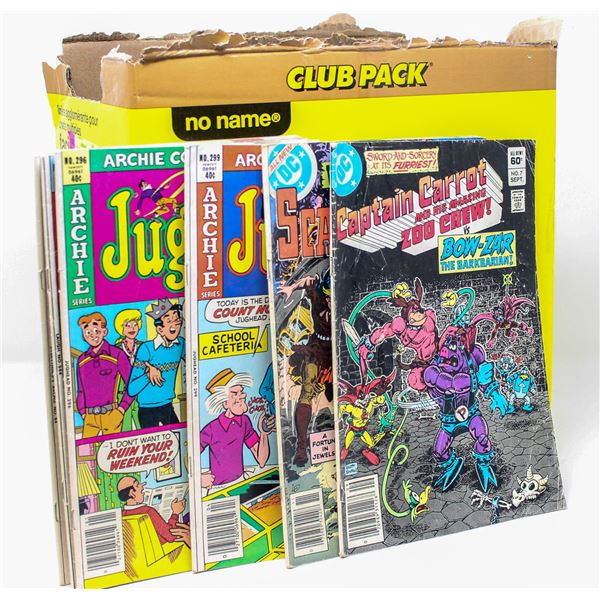 BOX OF ASSORTED VINTAGE COMICS AND TOYS