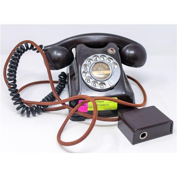 ANTIQUE BROWN BAKELITE TELEPHONE