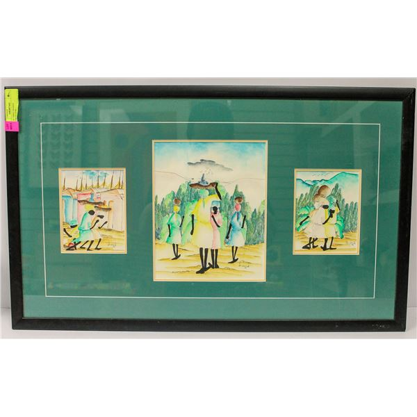SET OF THREE FRAMED WATERCOLOURS