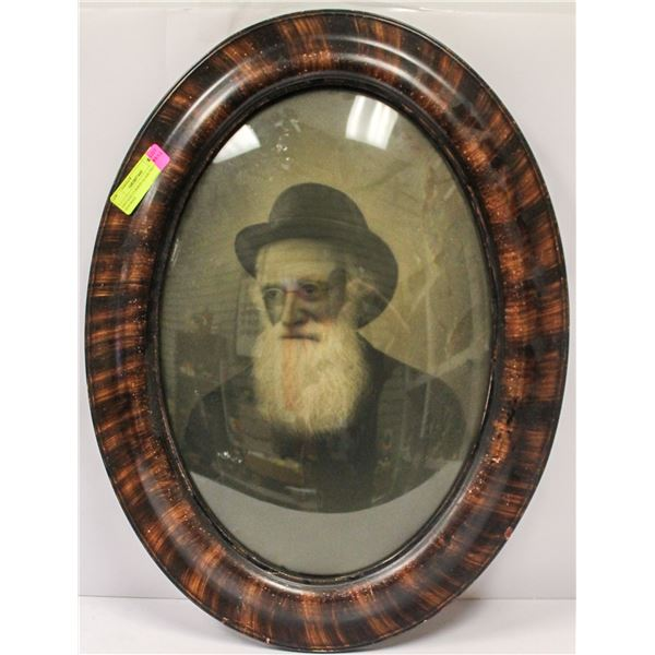 VINTAGE CURBED GLASS PHOTO OF OLD MAN