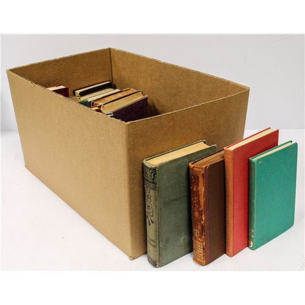 BOX OF ASSORTED ANTIQUE BOOKS 1800S UP