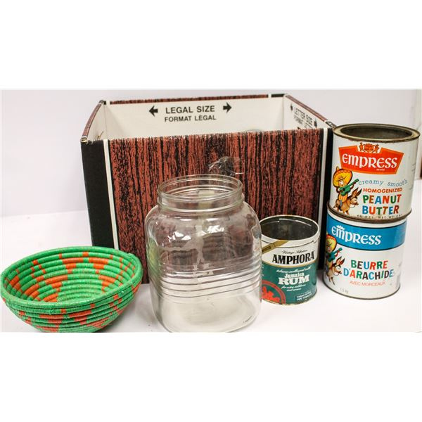 BOX OF VINTAGE KITCHEN ITEMS AND COLLECTOR TINS