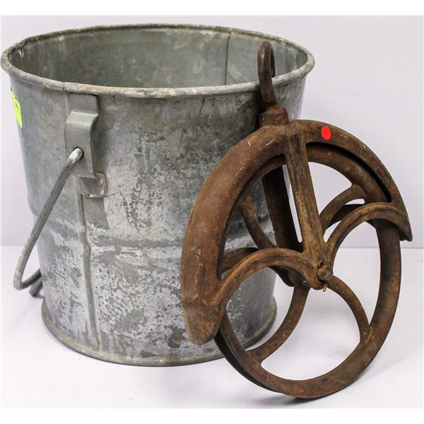 ANTIQUE GALVANIZED WELL BUCKET WITH PULLEY