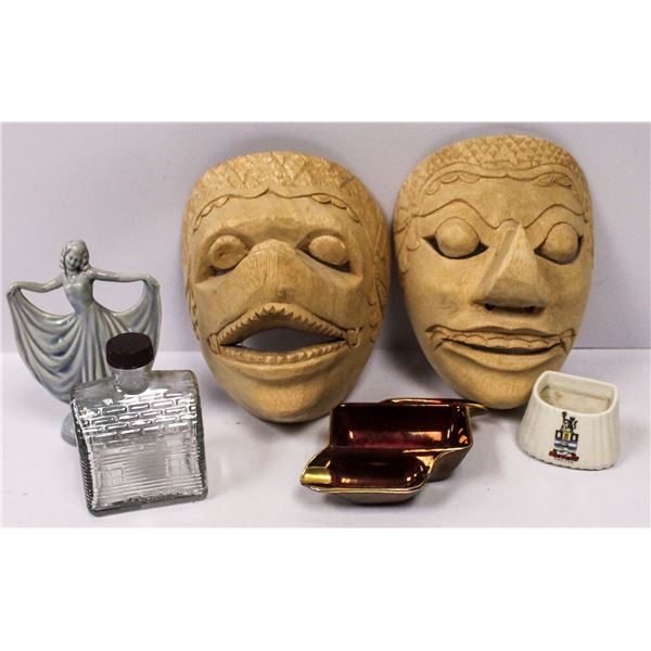 BOX WITH TWO HAND CARVED WOODEN MASKS