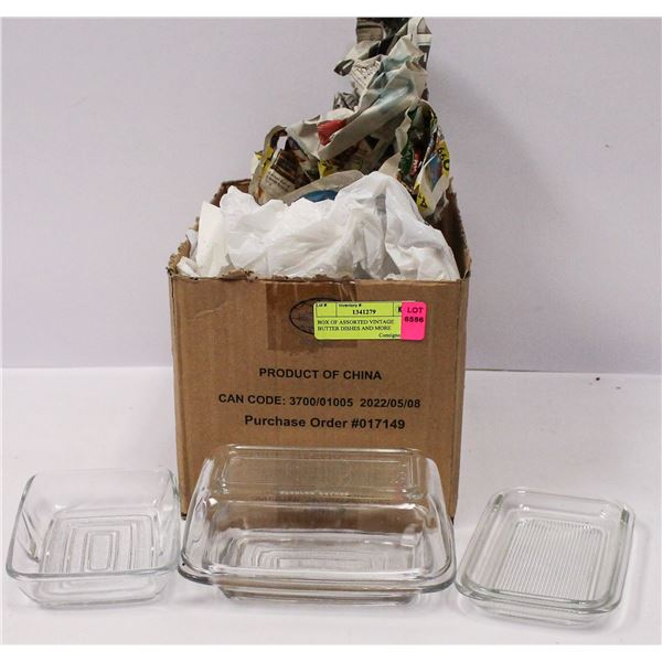 BOX OF ASSORTED VINTAGE BUTTER DISHES AND MORE