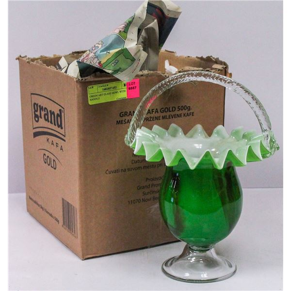 GREEN ART GLASS BOWL WITH HANDLE