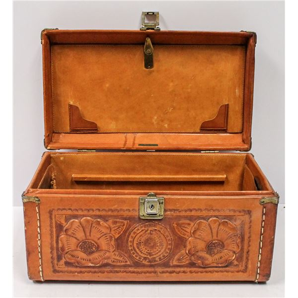VINTAGE TOOLED LEATHER SUITCASE CARRY CASE