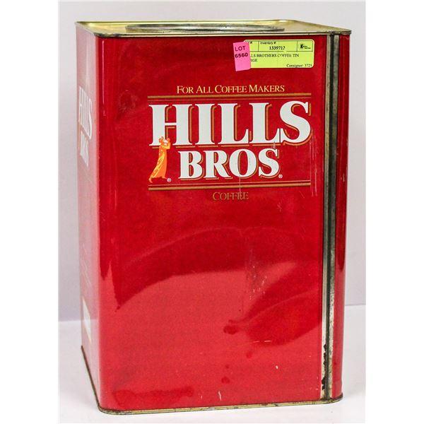 HILLS BROTHERS COFFEE TIN LARGE