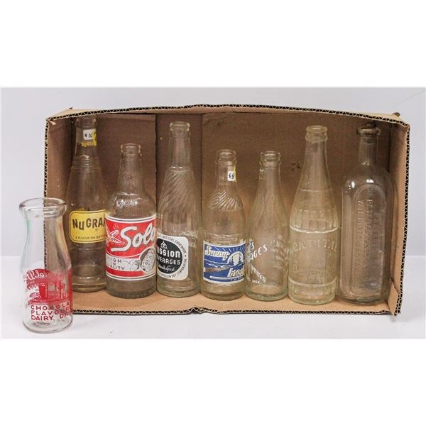 BOX OF ASSORTED RARE SODA BOTTLES