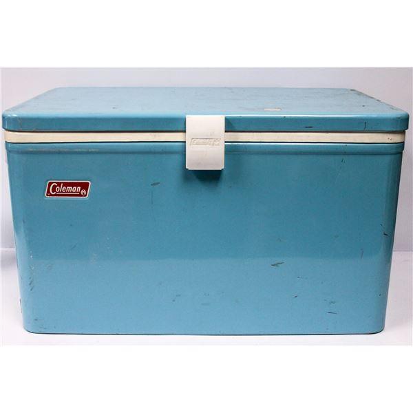 VINTAGE BABY BLUE COLEMAN COOLER METAL