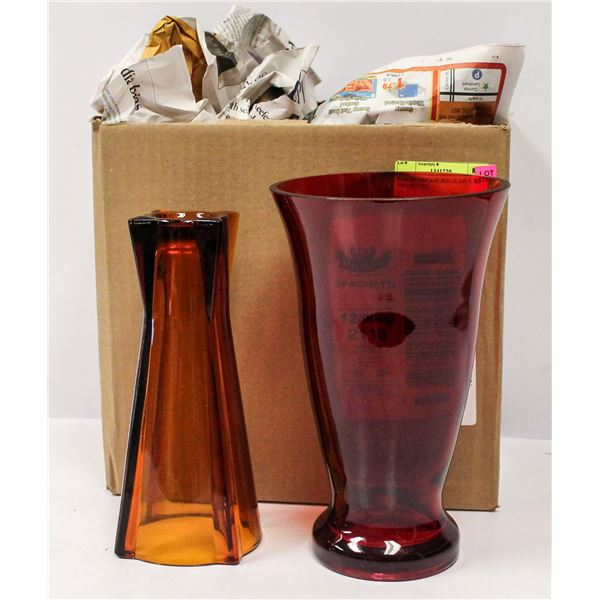 PAIR OF VINTAGE RED GLASS VASES DECORATIVE