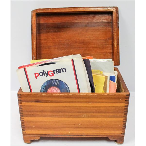 WOODEN BOX FULL OF 45 RPM RECORDS