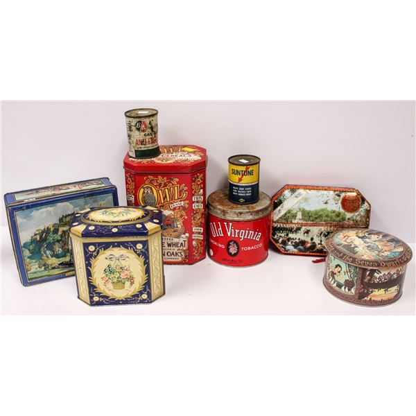 TRAY LOT OF VINTAGE ADVERTISING TINS