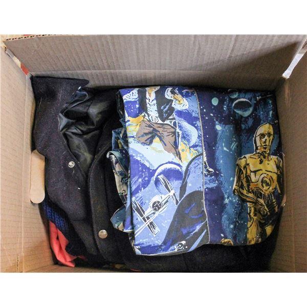 BOX OF VINTAGE CLOTHING AND STAR WARS SHEETS