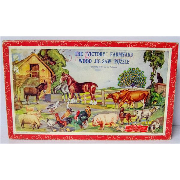 ANTIQUE VICTORY FARMYARD WOODEN PUZZLE