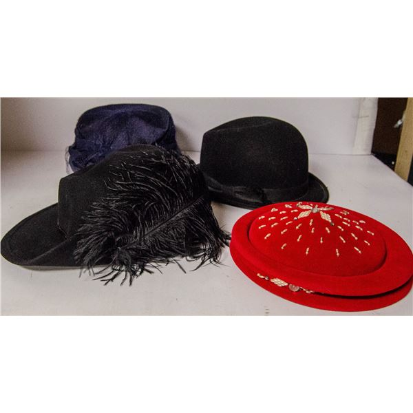 BOX OF ASSORTED VINTAGE HATS