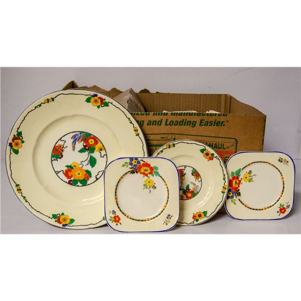 BOX OF ORNATE CHINA CUPS BOWLS ETC