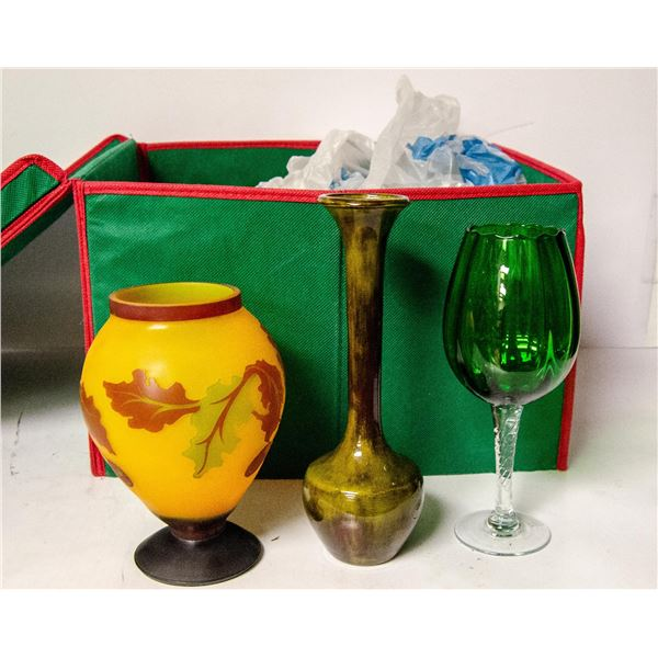 BOX OF ASSORTED VINTAGE GLASSWARE