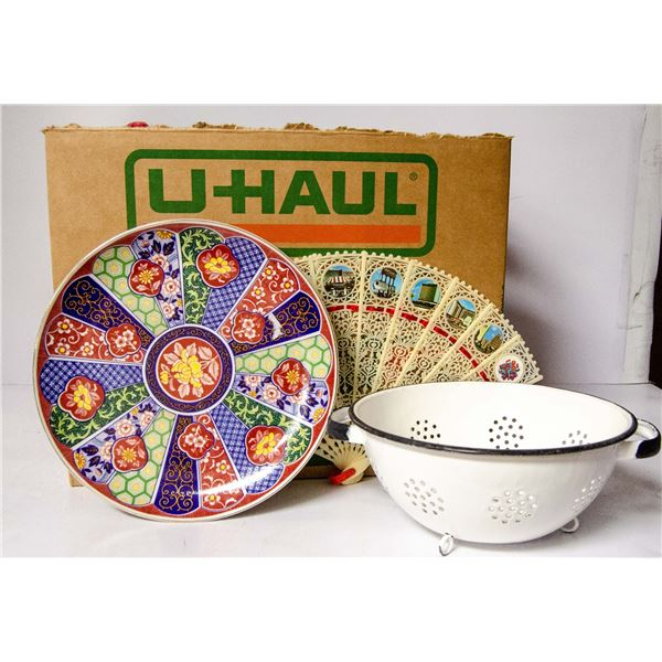BOX OF ANTIQUE DISHES