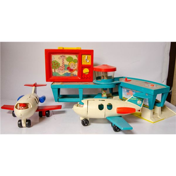 VINTAGE FISHER PRICE AIRPORT WITH TWO PLANES