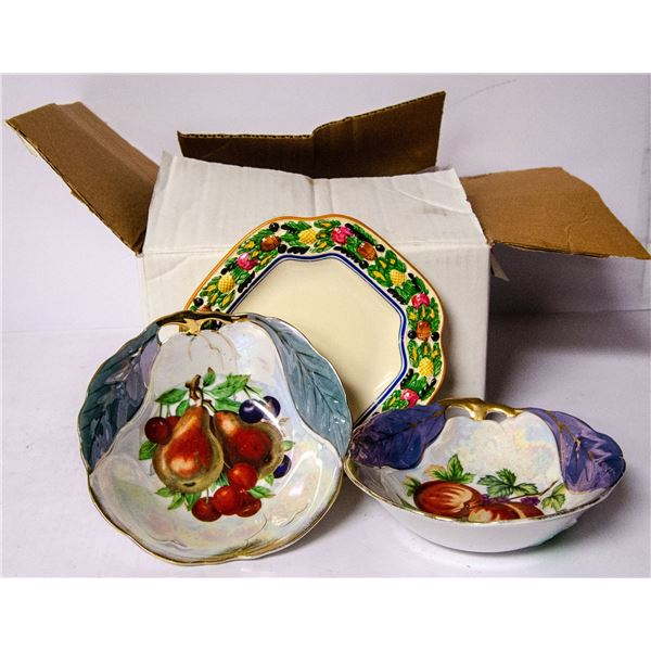 BOX OF ASSORTED VINTAGE CHINA CUPS SAUCERS DISHES