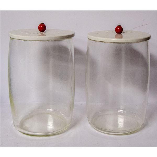 PAIR OF ANTIQUE GLASS ESISON BATTERIES