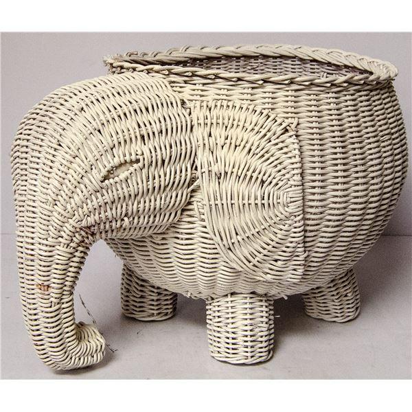 VINTAGE ELEPHANT WICKER BASKET