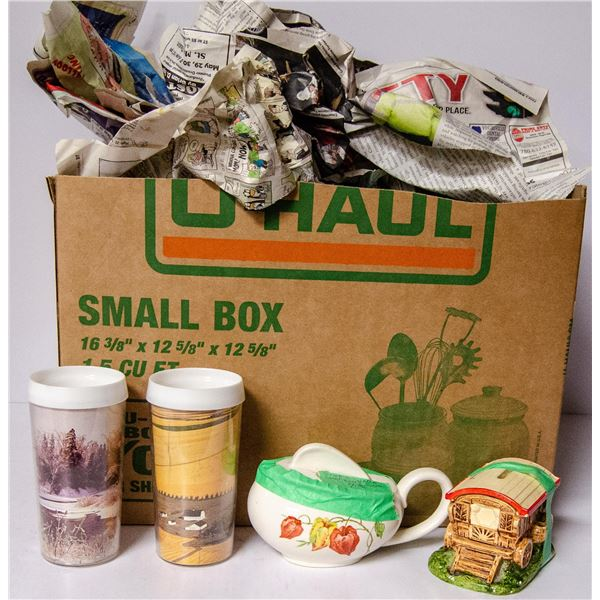 BOX OF ASSORTED VINTAGE CHINA COLLECTIBLES ETC