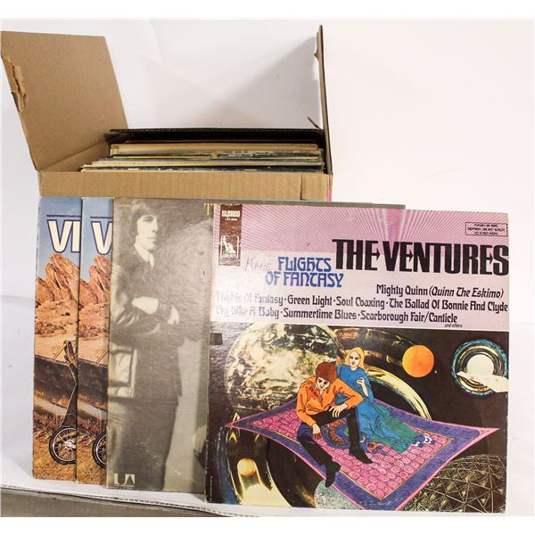 BOX OF APPROX 100 ASSORTED VINTAGE RECORDS
