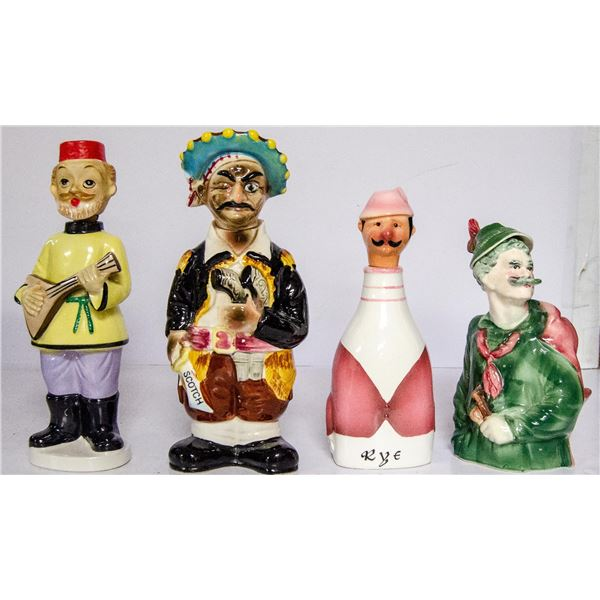 BOX OF ASSORTED VINTAGE FIGURAL DECANTERS