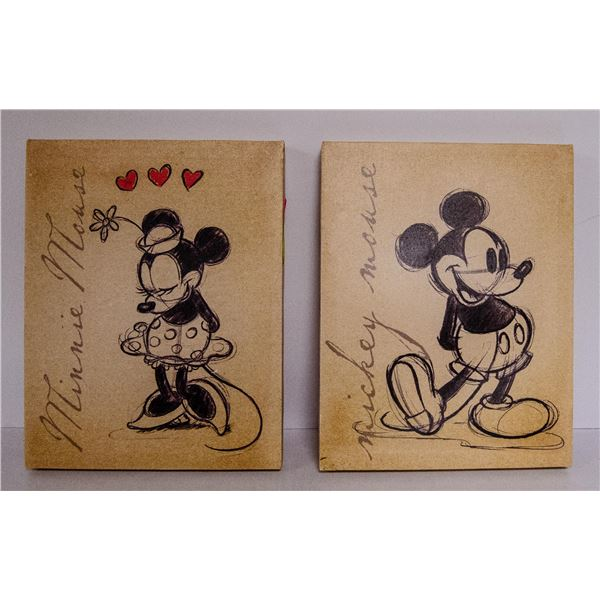 PAIR OF MICKEY AND MINNIE CANVAS PICTURES