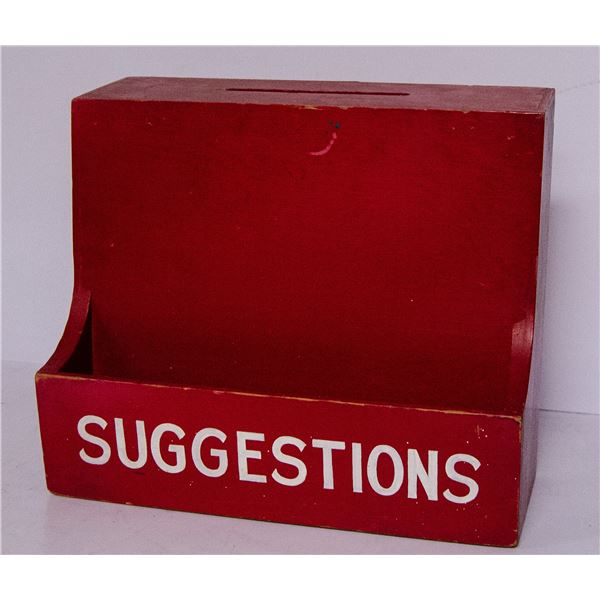 VINTAGE WOODEN SUGGESTION BOX RED