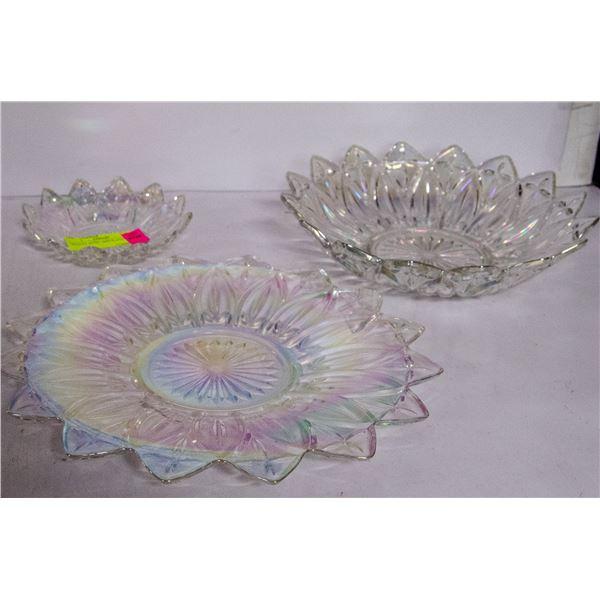 CARNIVAL GLASS BOWL AND PLATTER SET