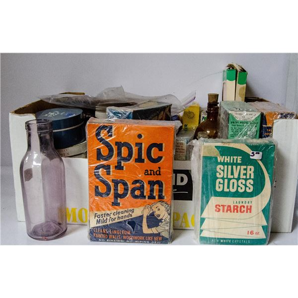 BOX OF ASSORTED ANTIQUE KITCHEN BOXES AND TINS