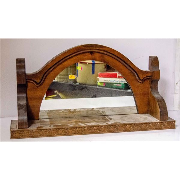 VINTAGE WOODEN HALL STAND SHELF WITH MIRROR