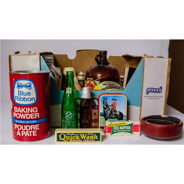 BOX OF ASSORTED VINTAGE HOUSEHOLD COLLECTIBLES