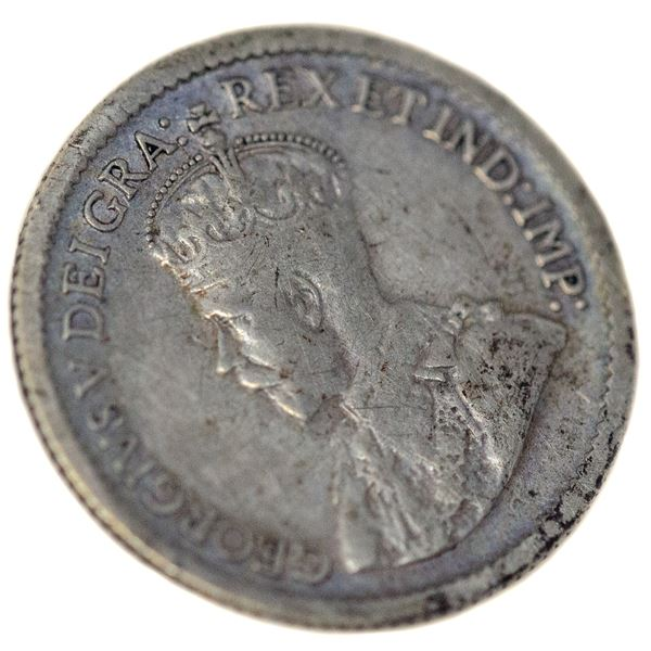 1921 SILVER CANADA 5 CENTS  ICCS CERTIFIED F-12