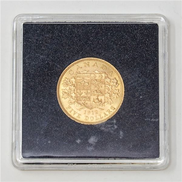1912 GOLD CANADA $5 DOLLARS COINS EF+ CONDITION
