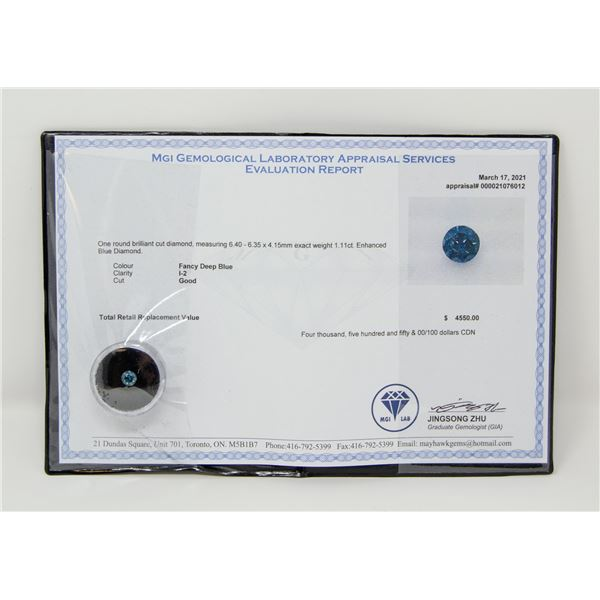 MGI CERTIFIED 1.11CT FANCY DEEP BLUE DIAMOND