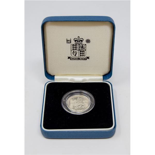 2000 UK SILVER PROOF DRAGON 1 POUND COIN IN CASE