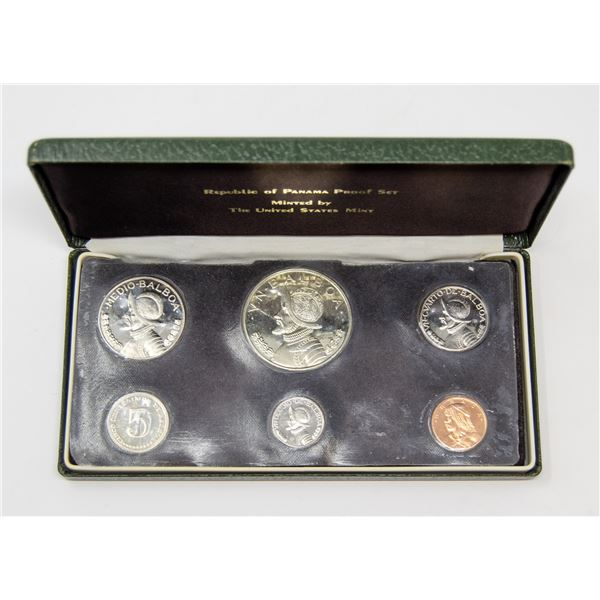 1974 SILVER PANAMA 1 BALBOA 6 COIN MINT SET,