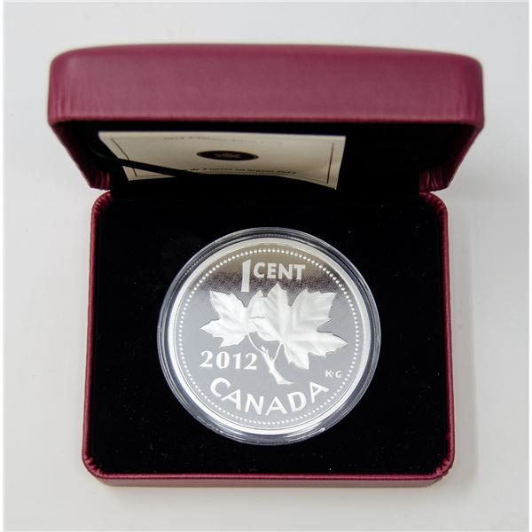 2012 FINE SILVER 5oz LAST PENNY RCM PROOF COIN
