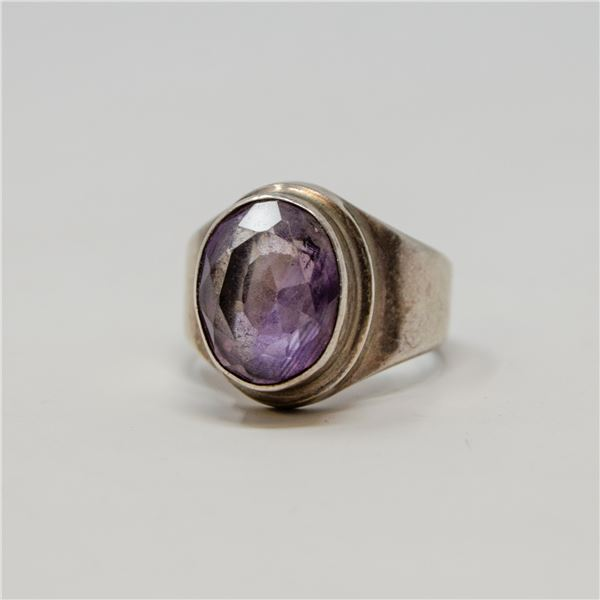 VINTAGE .925 SILVER STAMPED AMETHYST RING, 9.08g, SIZE7