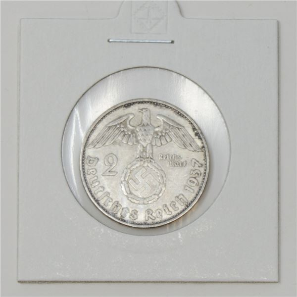 1937 WWII SILVER NAZI GERMANY 2 REICHSMARK COIN