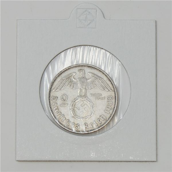1938 WWII SILVER NAZI GERMANY 2 REICHSMARK COIN