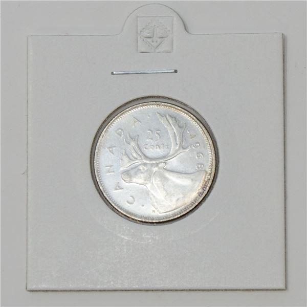 1968 SILVER CANADA 25 CENTS COIN, BU