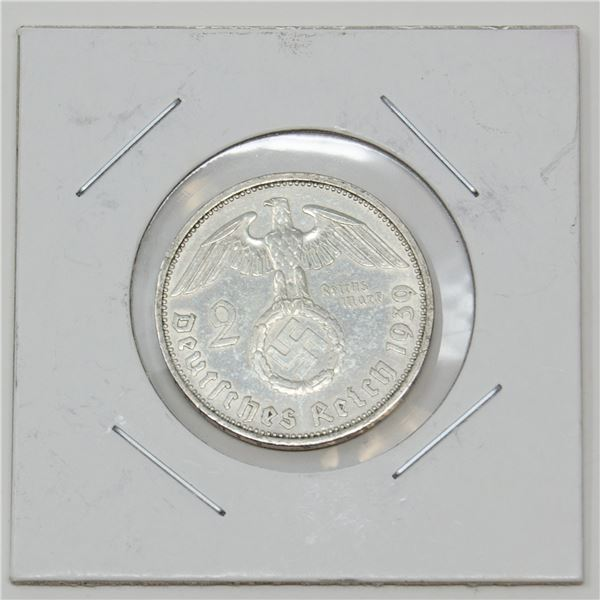 1939 WWII SILVER NAZI GERMANY 2 REICHSMARK COIN