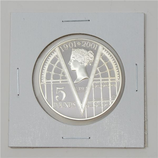 2001 SILVER GREAT BRITAIN 5 POUNDS PROOF COIN,