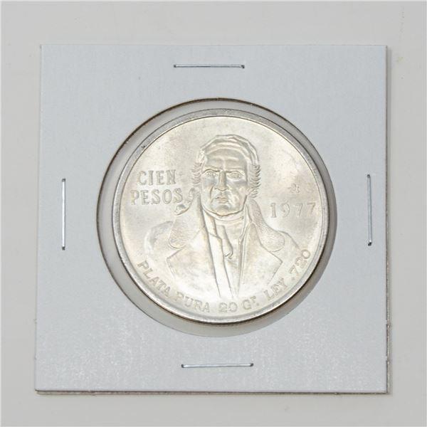 1977 SILVER MEXICO 100 PESOS BULLION COIN, 27.70g