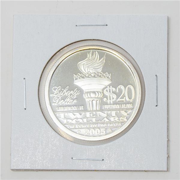 2005 FINE .999 SILVER 1oz LIBERTY USA $20 BULLION